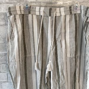 Linen cotton drawstring gray & cream striped pants